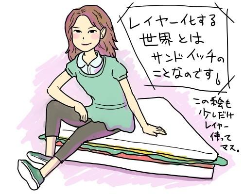 サンドイッチに座る女性